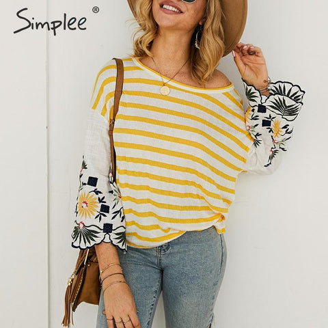 Daisy Embroidered Striped Top