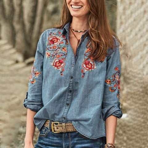 Jade Embroidered Denim Top