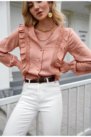 Piya Ruffled Button Down Top