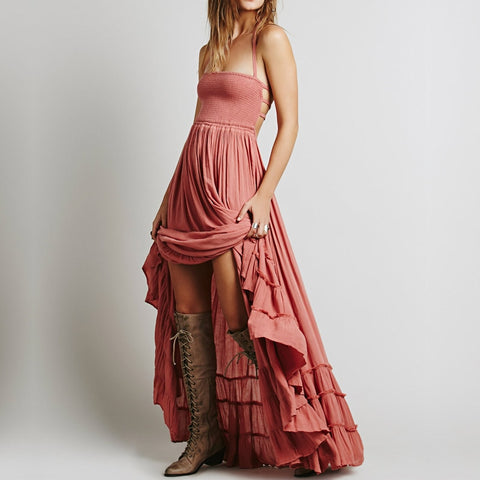 Ardella Crinkly Maxi Dress With A Smocked Elastic Bodice, Tiered Skirt