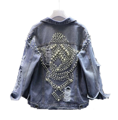 Sansa Pearled Denim Jacket