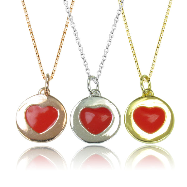 HEART DISK STERLING SILVER NECKLACE