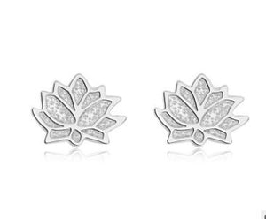 MINI LOTUS FLOWER PAVE CZ STERLING SILVER EARRINGS