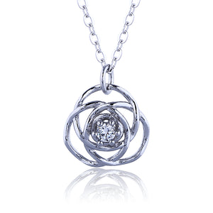 ROSE CZ STERLING SILVER NECKLACE