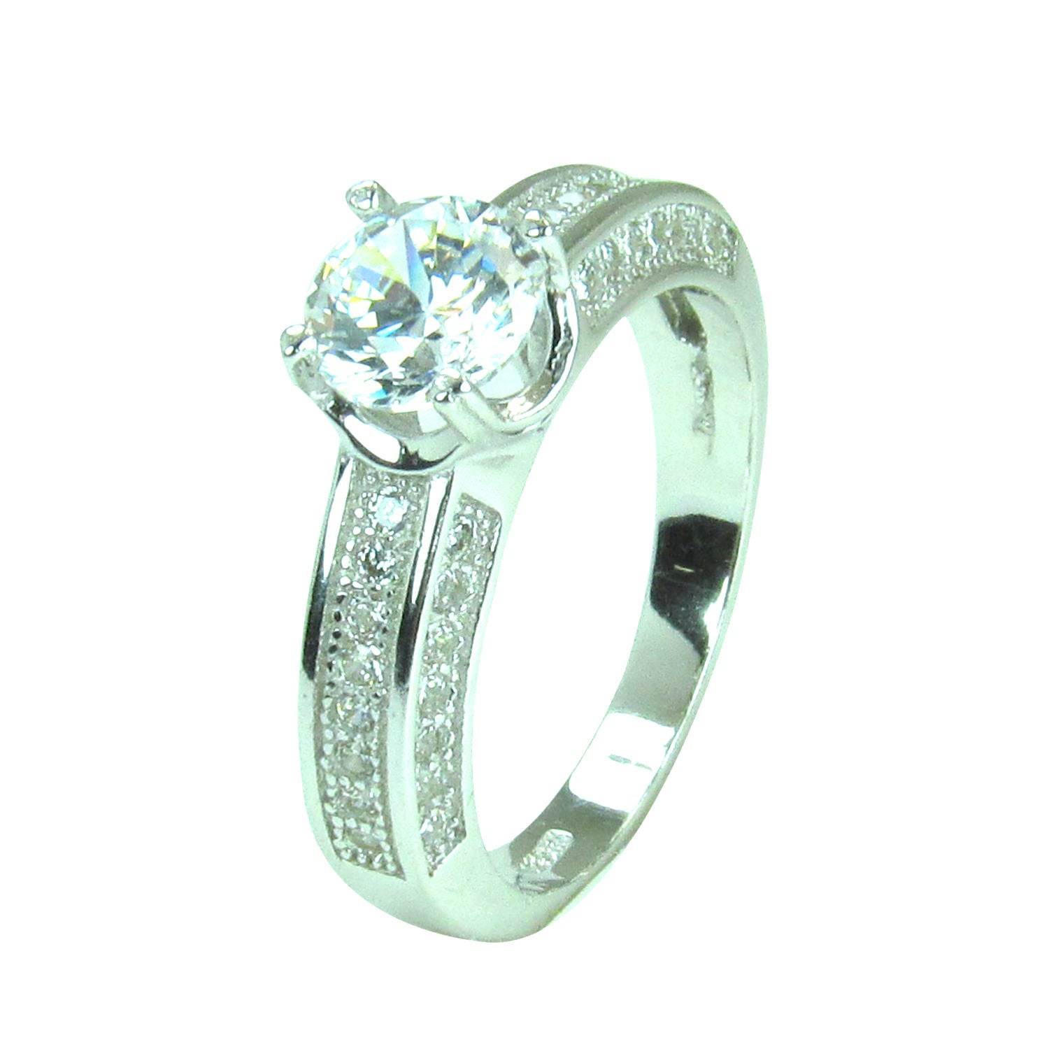 CLEAR STONE WITH SIDE PAVE CZ STERLING SILVER RING