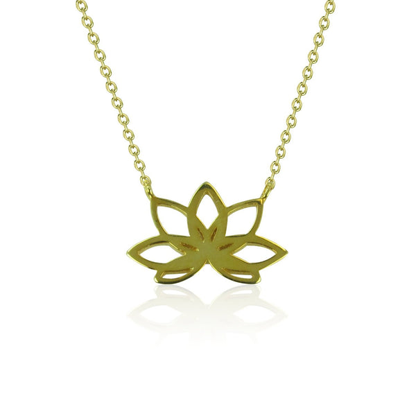 GOLDEN LOTUS FLOWER STERLING SILVER NECKLACE