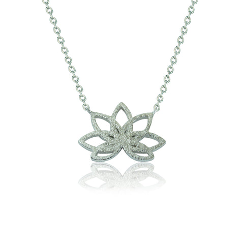 LOTUS FLOWER STERLING SILVER NECKLACE