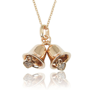 ROSE GOLD JINGLE BELLS STERLING SILVER NECKLACE