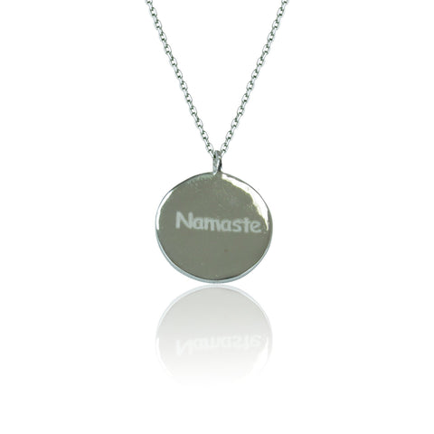 NAMASTE DISC STERLING SILVER NECKLACE