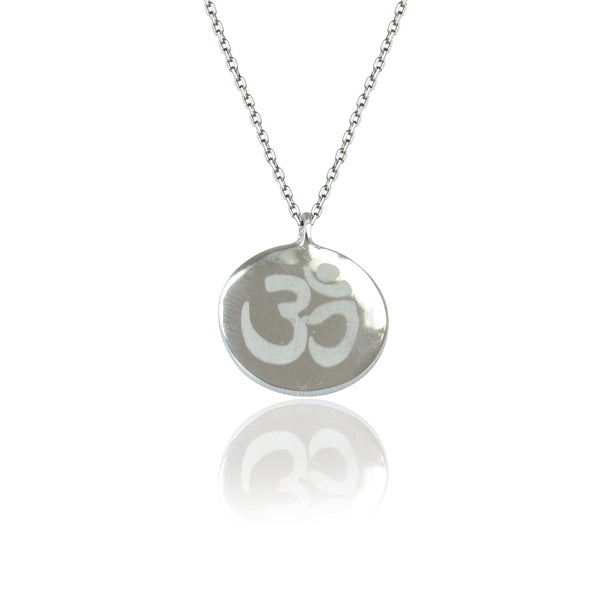 OM DISC STERLING SILVER NECKLACE