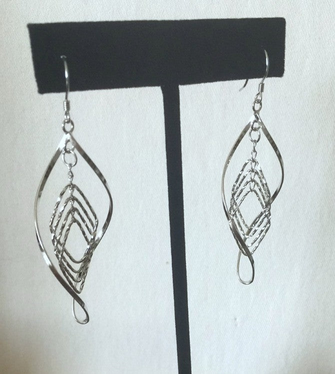 WAVING DANGLE STERLING SILVER EARRINGS