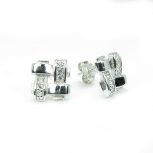 GEOMETRIC PAVE CZ STERLING SILVER EARRINGS