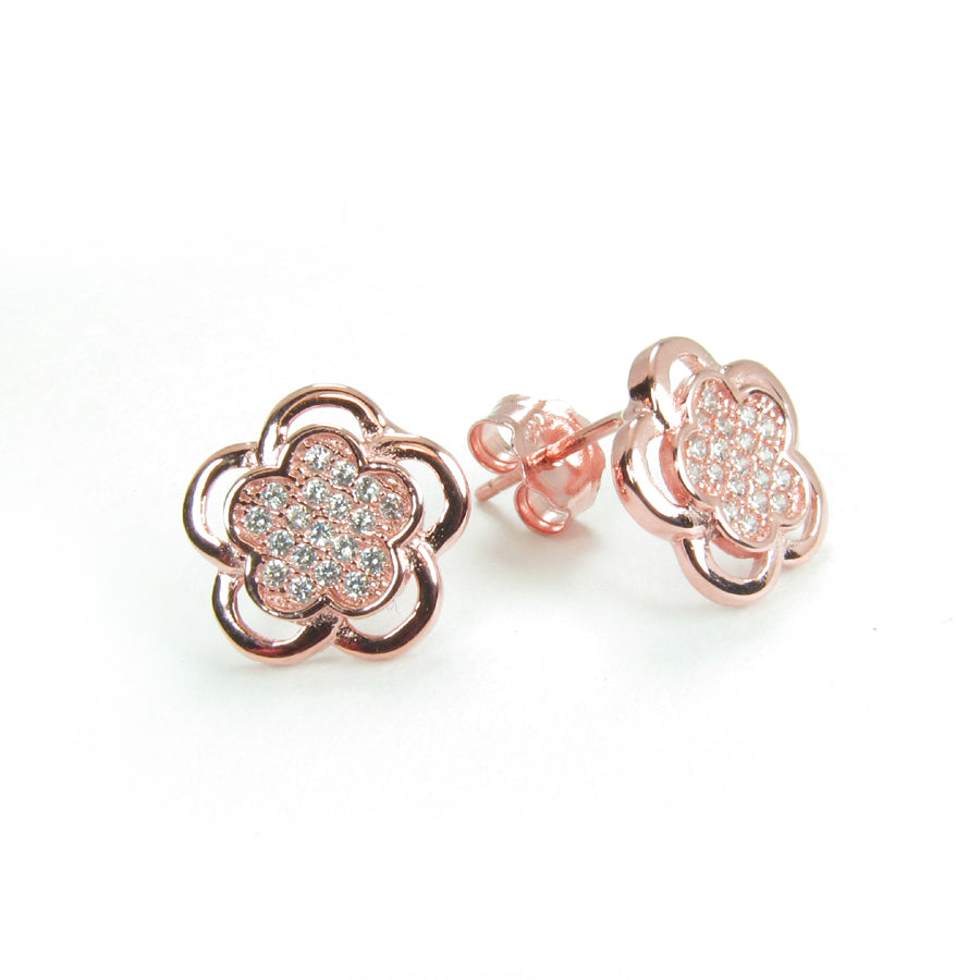 PLUM FLOWER PAVE CZ STERLING SILVER EARRINGS