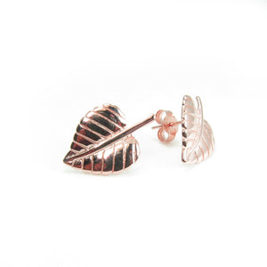 ROSE GOLD LEAF STERLING SILVER EARRINGS