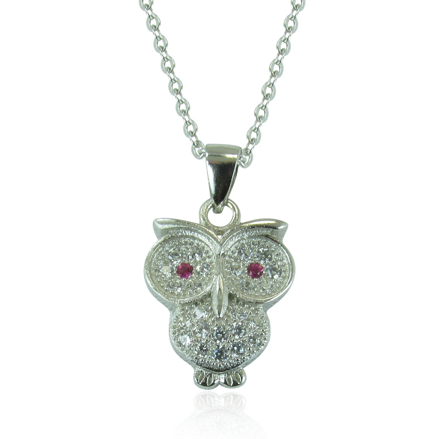 OWL PAVE CZ STERLING SILVER NECKLACE