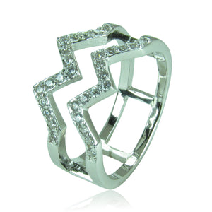 DOUBLE WAVE PAVE CZ STERLING SILVER RING