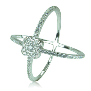 X WITH FLOWER PAVE CZ STERLING SILVER RING