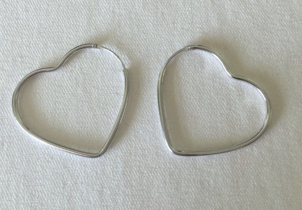 HEART HOOP STERLING SILVER EARRINGS