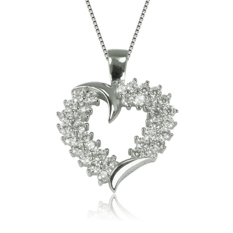 EMPTY HEART PAVE CZ STERLING SILVER NECKLACE