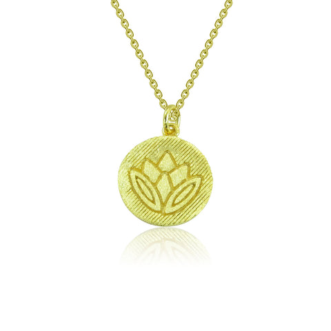 LOTUS FLOWER DISC STERLING SILVER NECKLACE