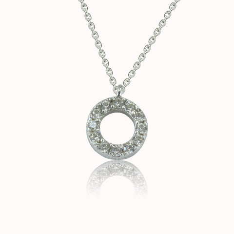 MINI CIRCLE PAVE CZ STERLING SILVER NECKLACE