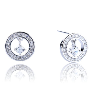 SPARKLING CIRCLE OPENING PAVE CZ STERLING SILVER EARRINGS