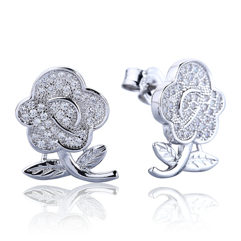 ROSE PAVE CZ STERLING SILVER EARRINGS