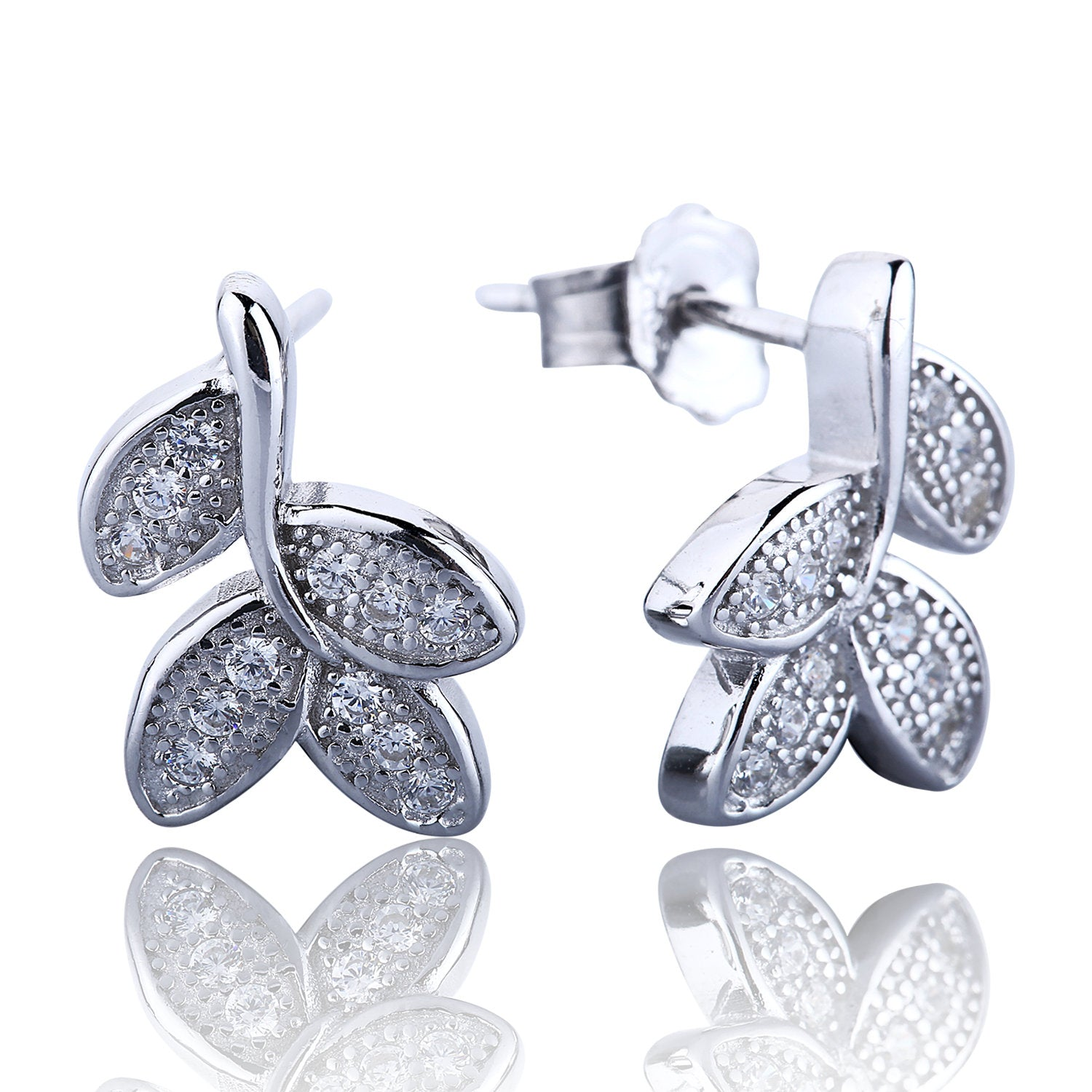 SPARKLING LEAVES PAVE CZ STERLING SILVER EARRINGS