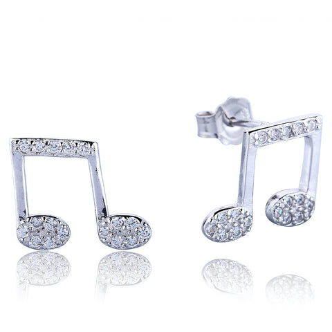 MUSIC NOTES PAVE CZ STERLING SILVER EARRINGS