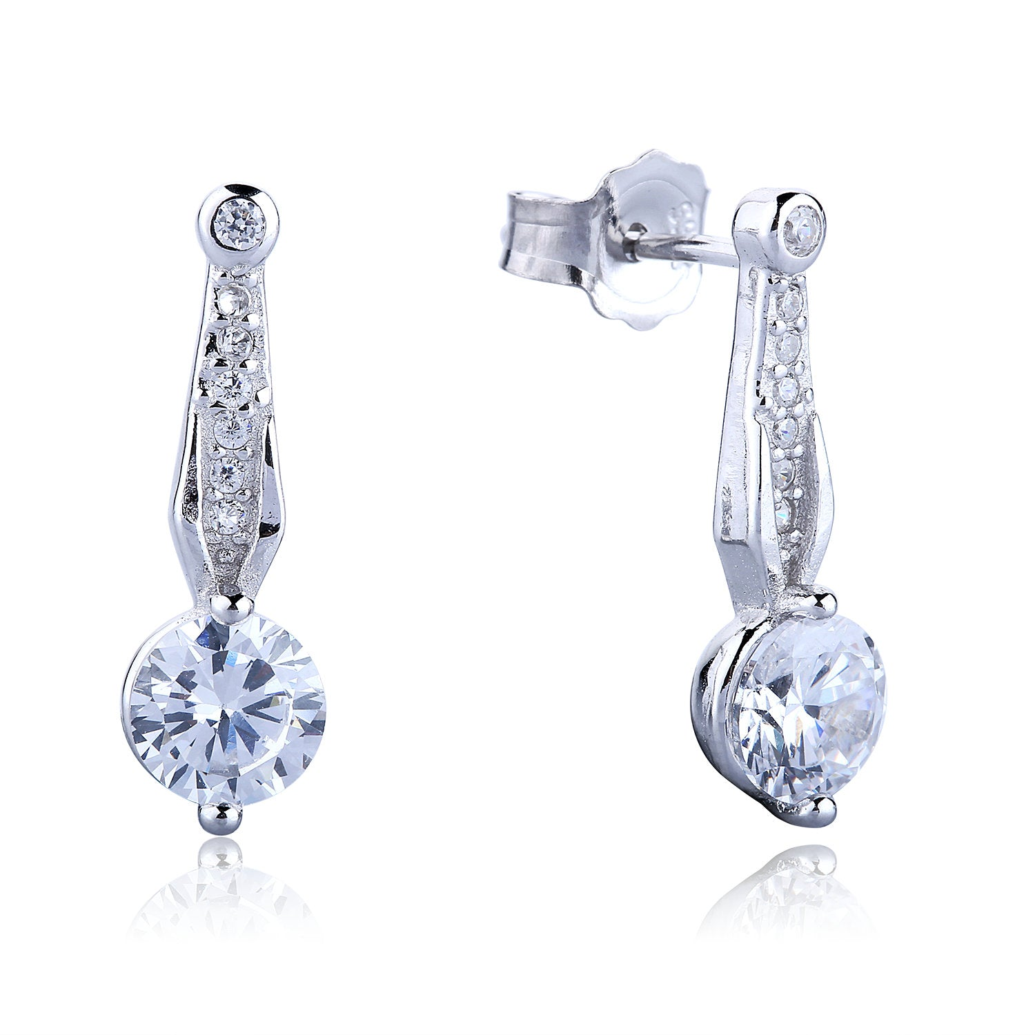 CLEAR CZ DROP STERLING SILVER EARRINGS