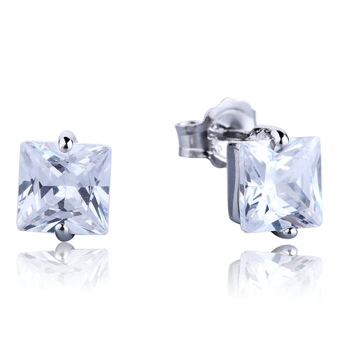 SQUARE CLEAR CZ STERLING SILVER EARRINGS