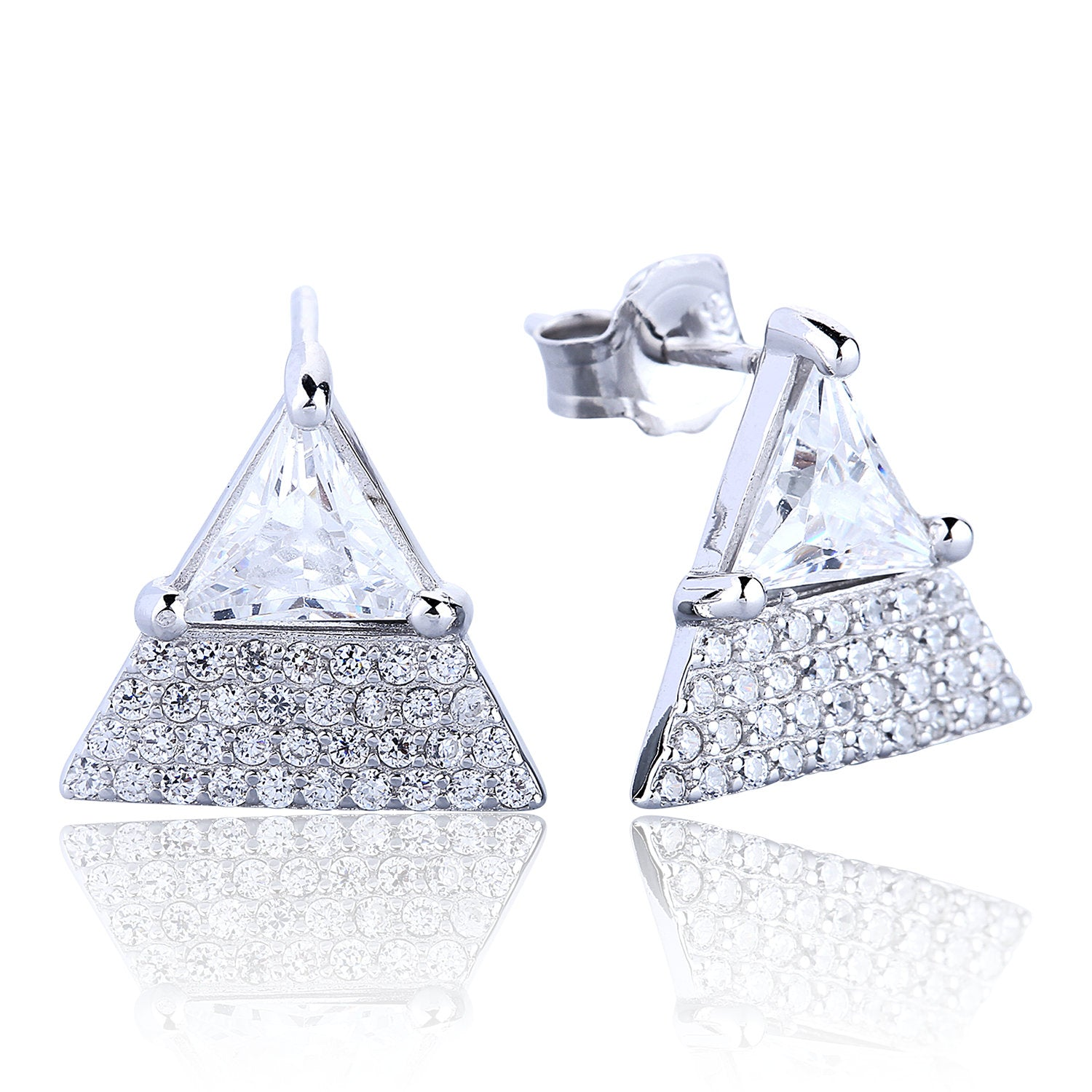 SPARKLING TRIANGLE CZ STERLING SILVER EARRINGS