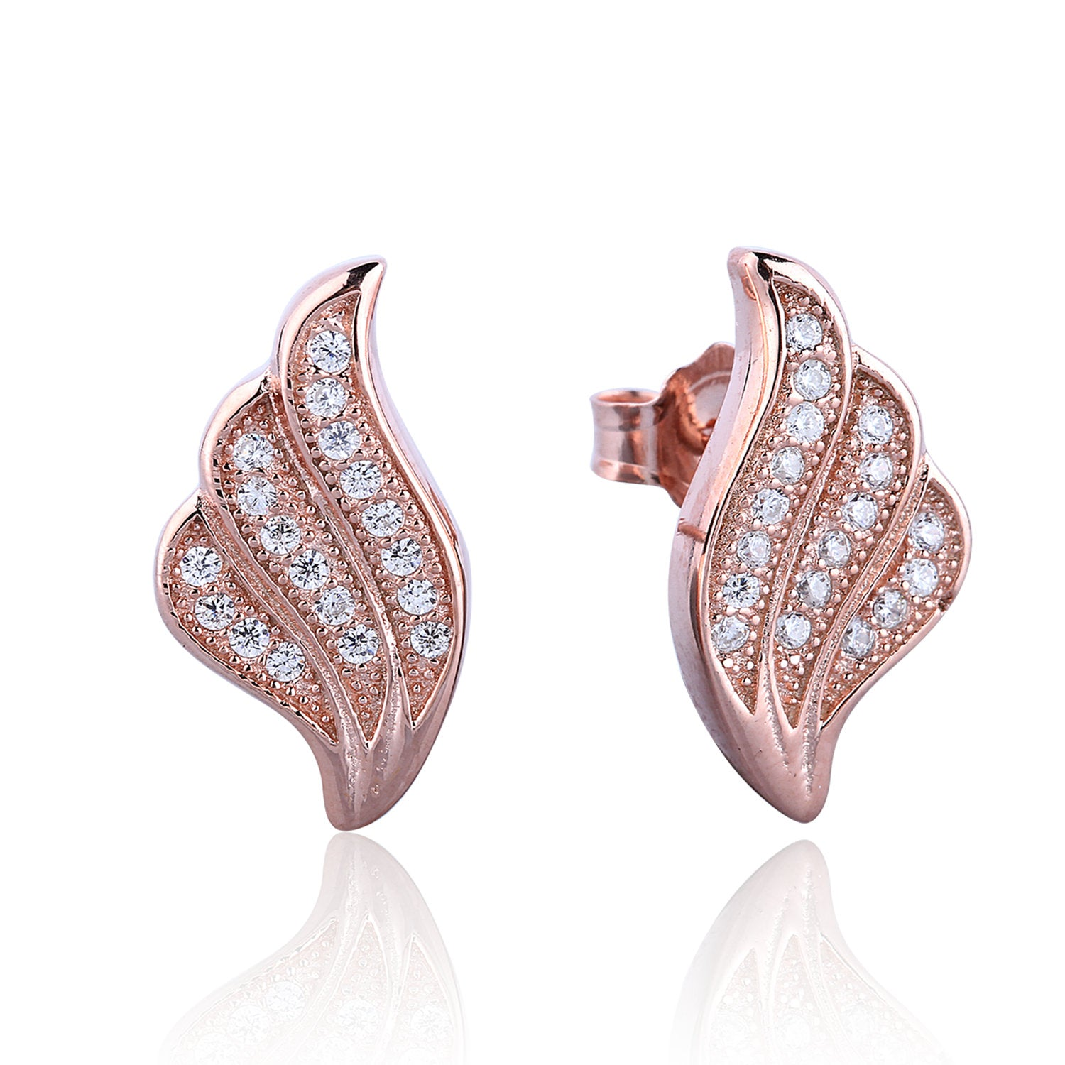 FEATHER PAVE CZ STERLING SILVER EARRINGS