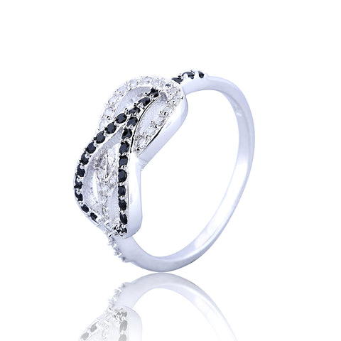 HEART WITH HEART PAVE CZ STERLING SILVER RING