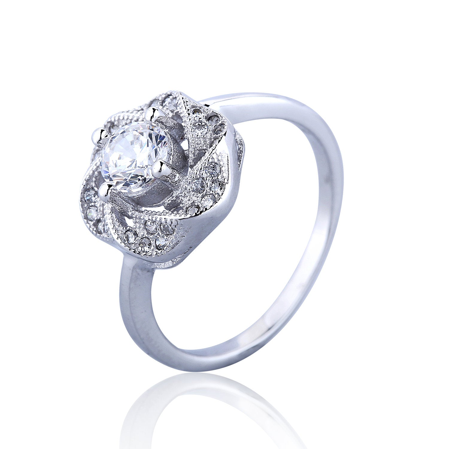 ROSE CLEAR CZ STERLING SILVER RING