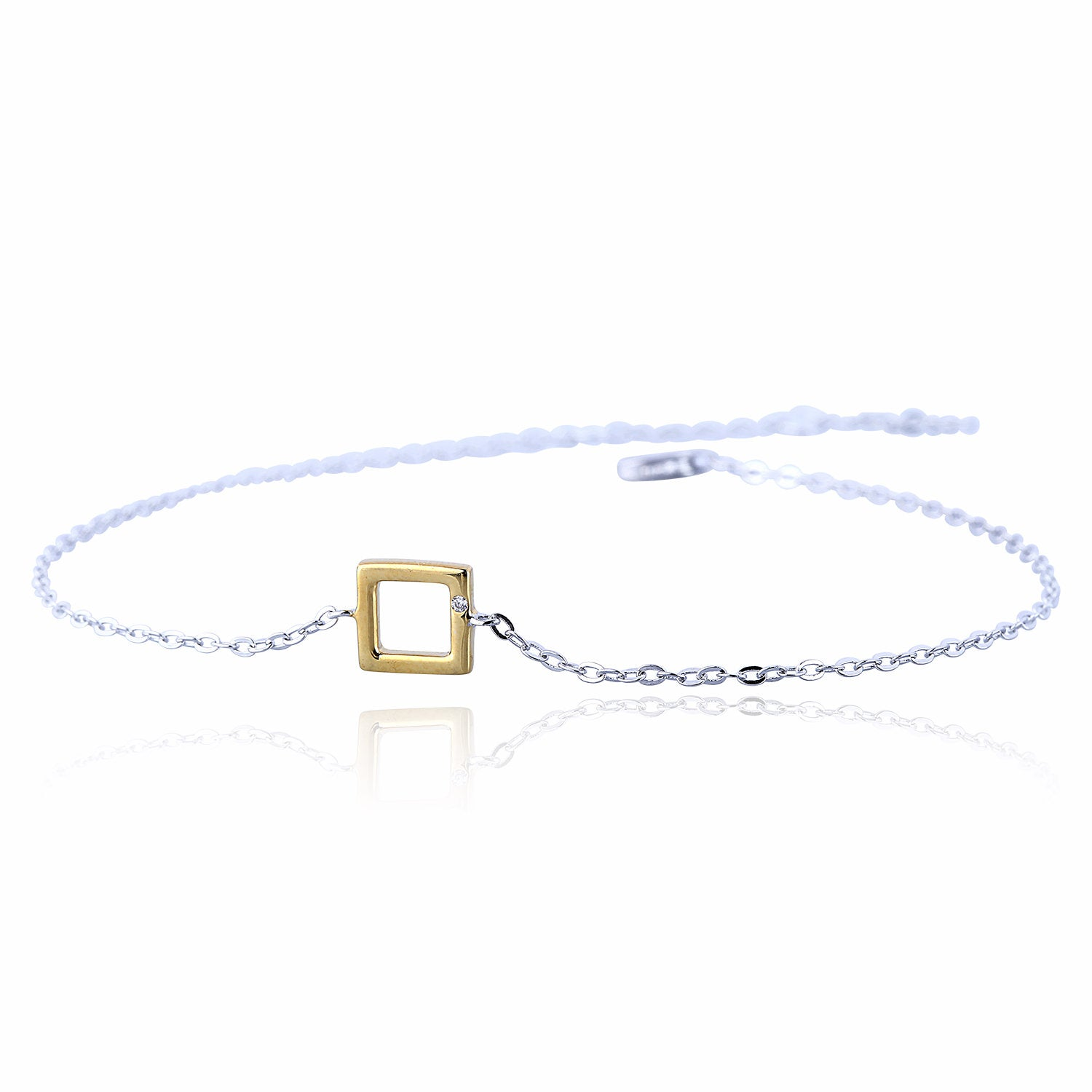 MINI GOLDEN SQUARE STERLING SILVER BRACELET