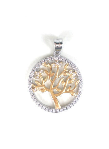 TWO TONE TREE OF LIFE PAVE CZ STERLING SILVER PENDANT