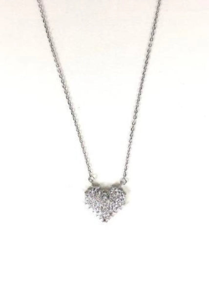 SPARKLING HEART PAVE CZ STERLING SILVER NECKLACE