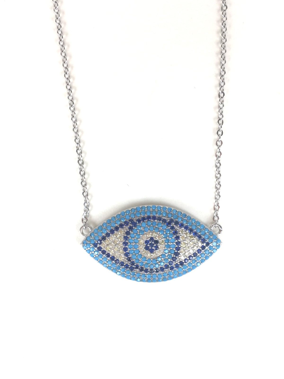 BIG EVIL EYE PAVE CZ STERLING SILVER NECKLACE