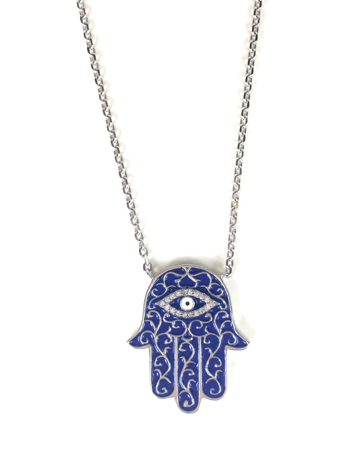 HAMSA PAVE CZ STERLING SILVER NECKLACE
