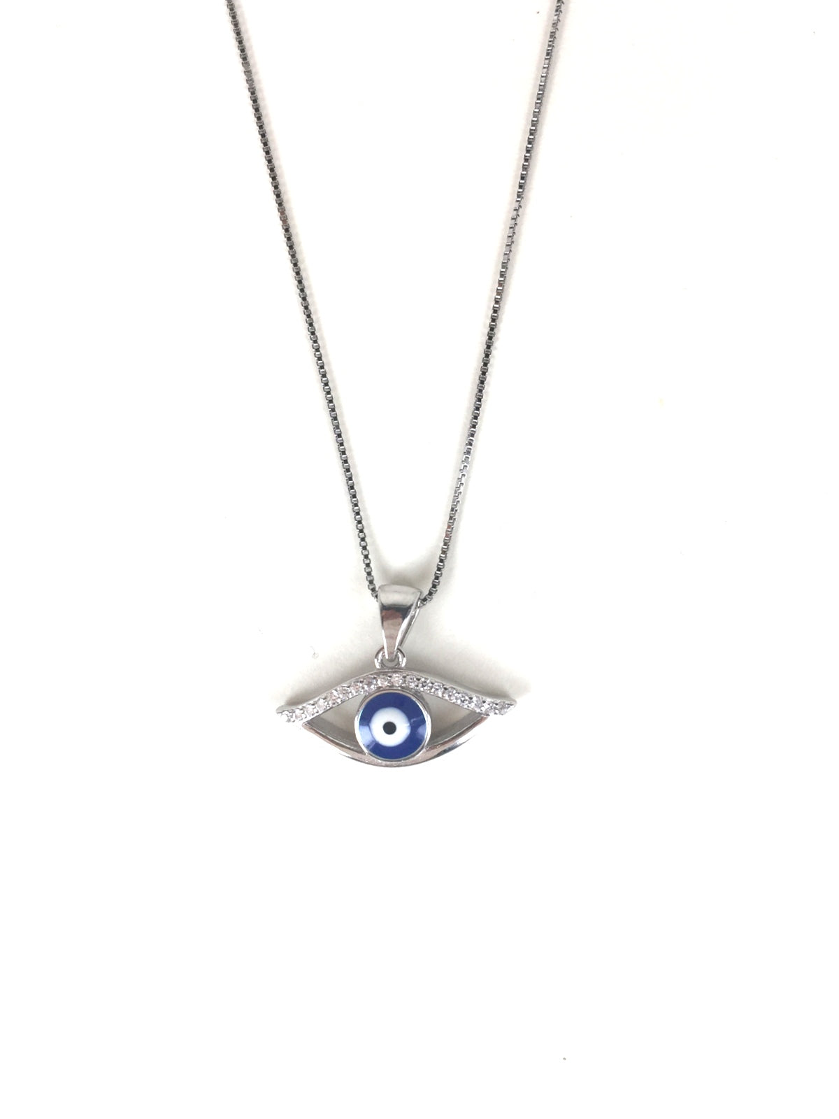 EVIL EYE PAVE CZ STERLING SILVER NECKLACE