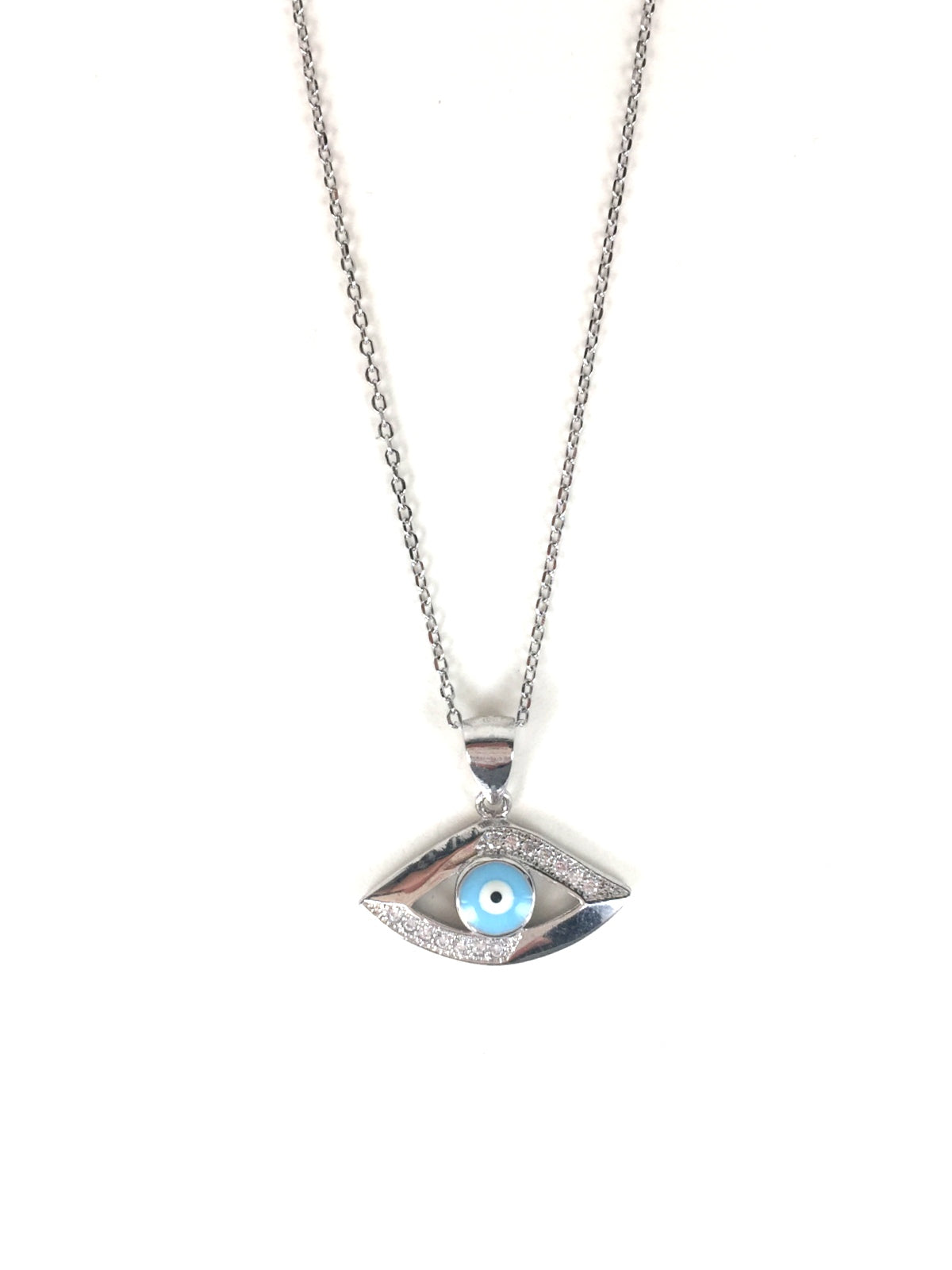 EVIL EYE 2 PAVE CZ STERLING SILVER NECKLACE
