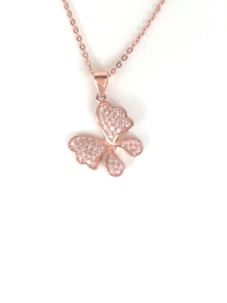 BUTTERFLY PAVE CZ STERLING SILVER NECKLACE
