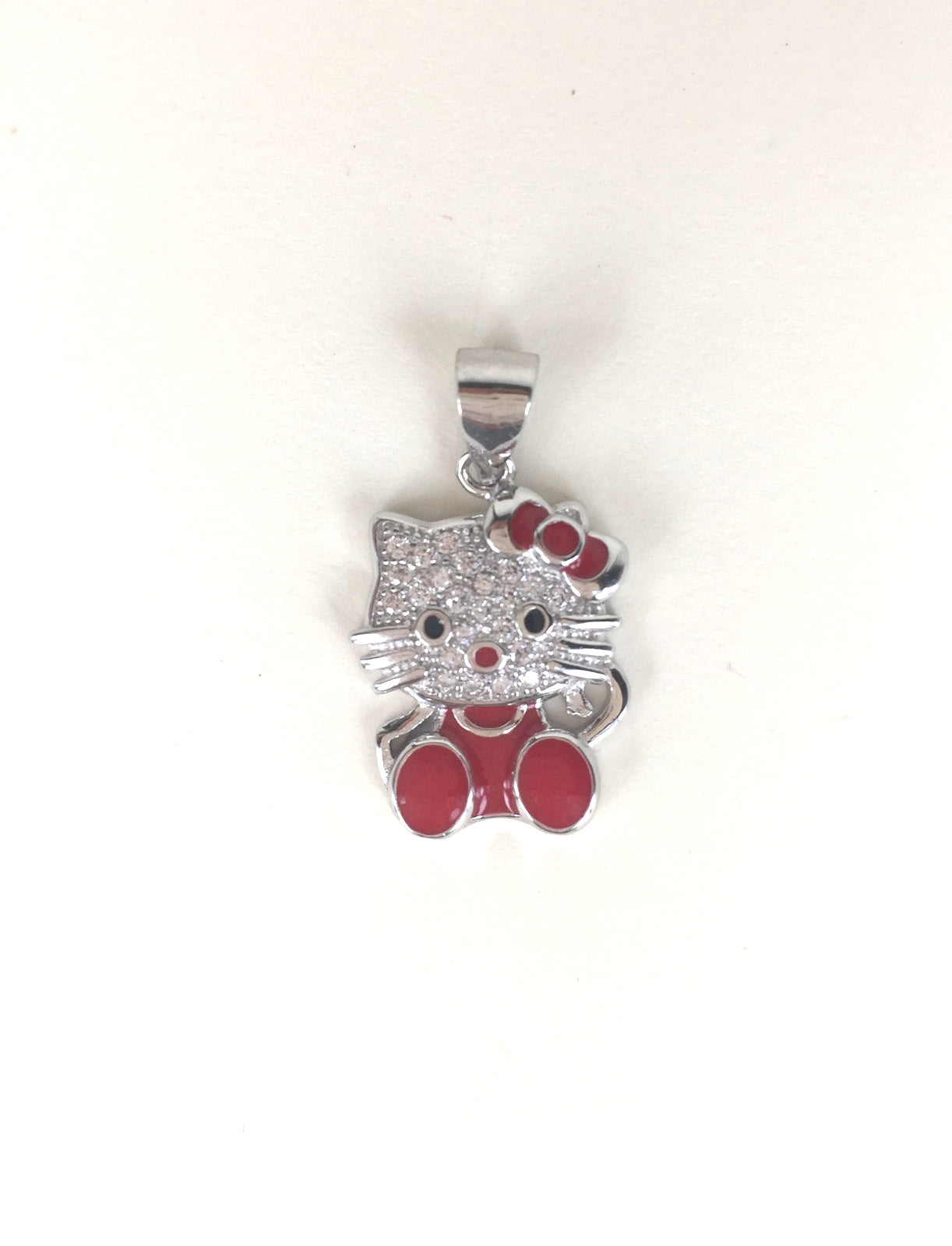 LOVELY CAT PAVE CZ STERLING SILVER PENDANT