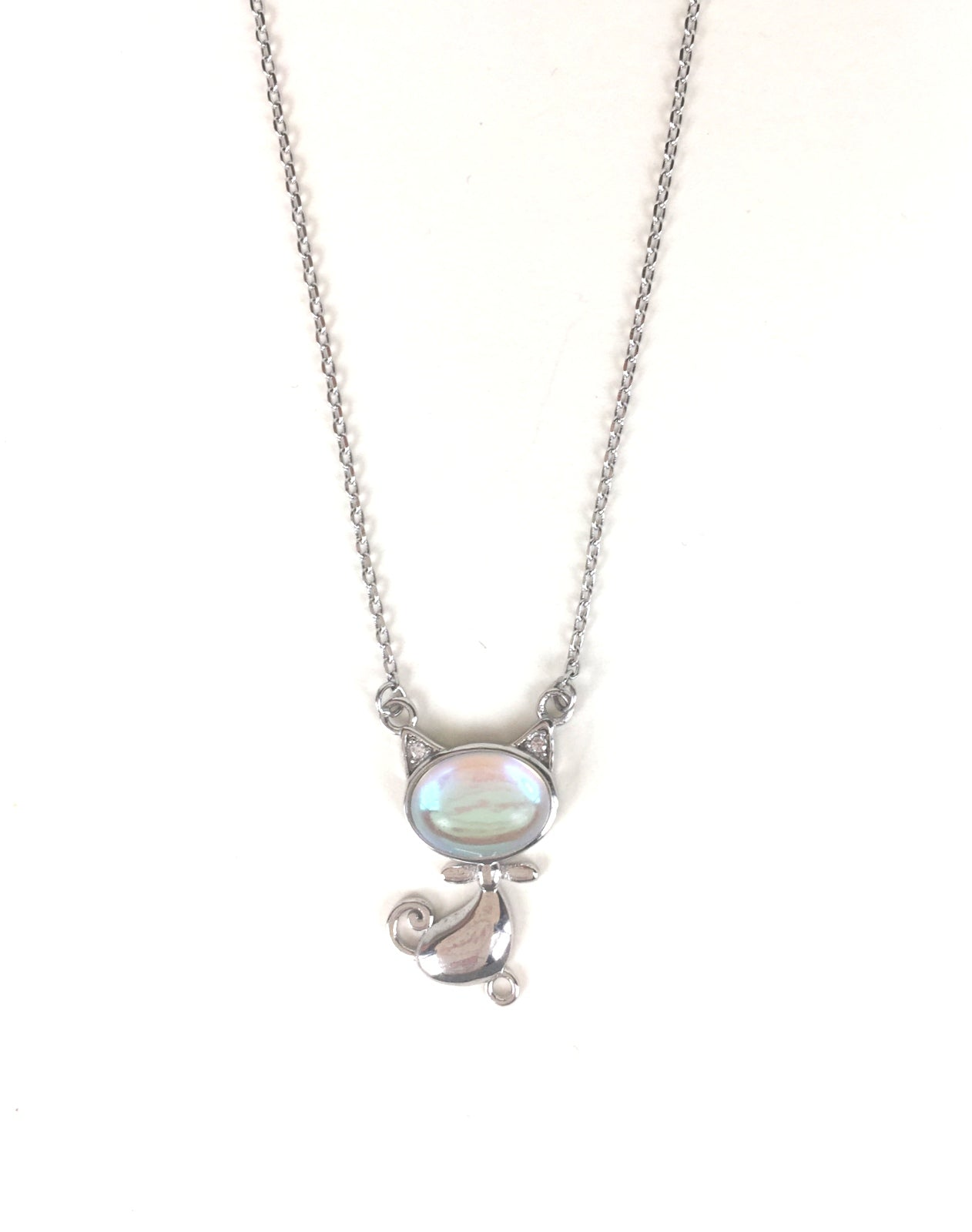 CUTE CAT PAVE CZ STERLING SILVER NECKLACE