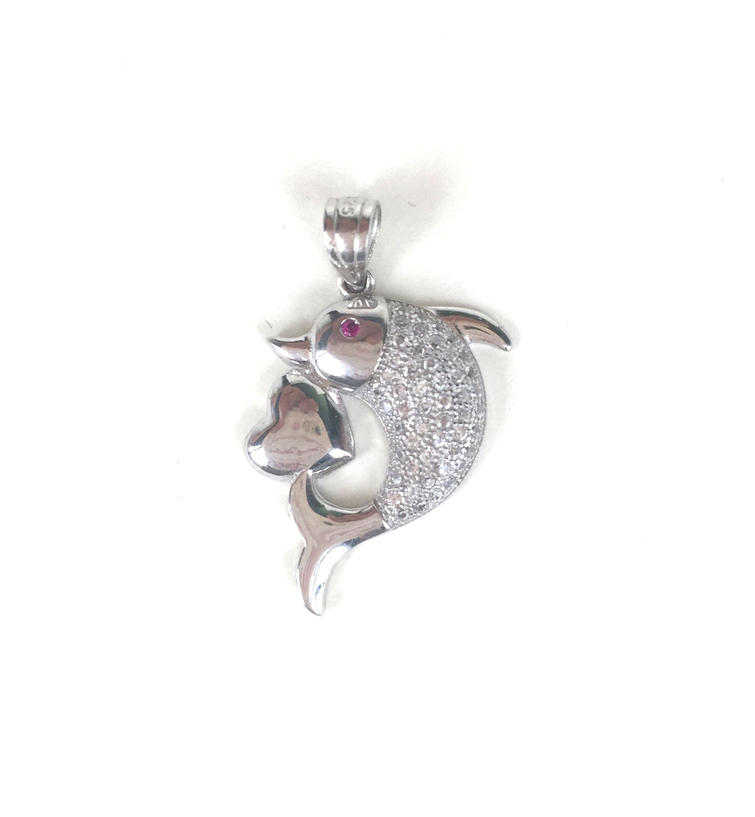 DOLPHIN WITH HEART PAVE CZ STERLING SILVER PENDANT
