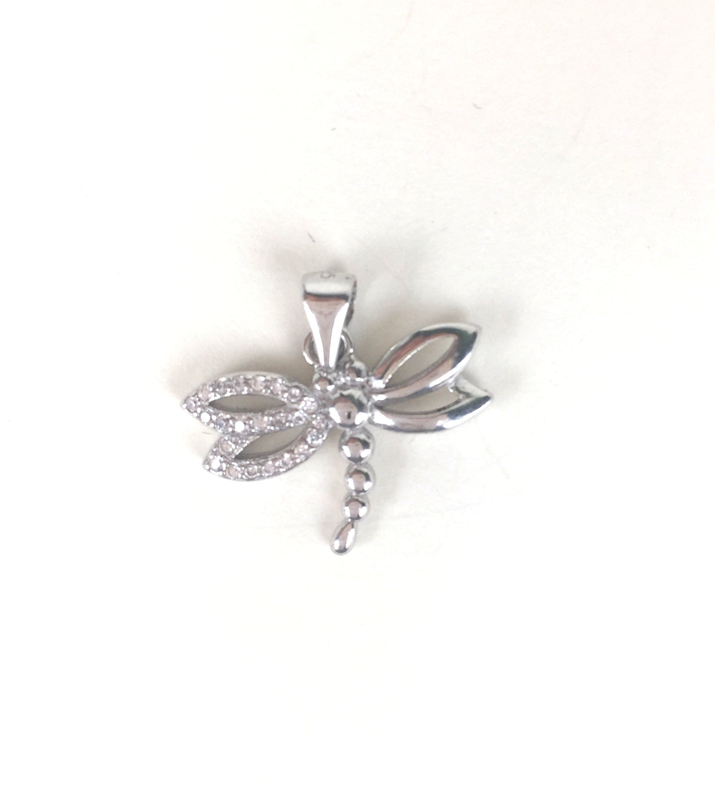 DRAGONFLY PAVE CZ STERLING SILVER PENDANT