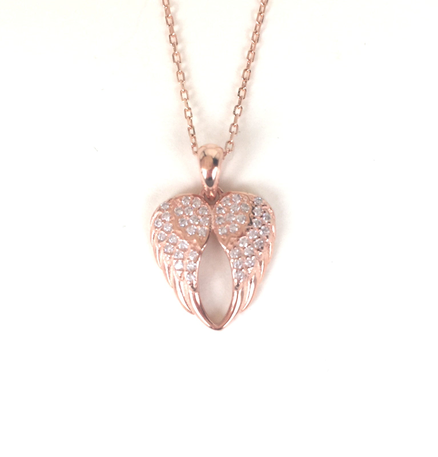 ROSE GOLD ANGEL WINGS PAVE CZ STERLING SILVER NECKLACE