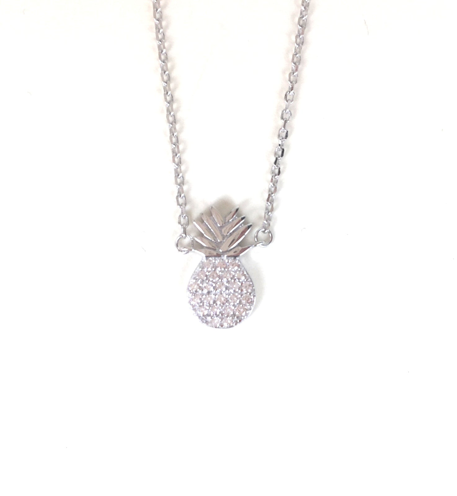 PINEAPPLE PAVE CZ STERLING SILVER NECKLACE
