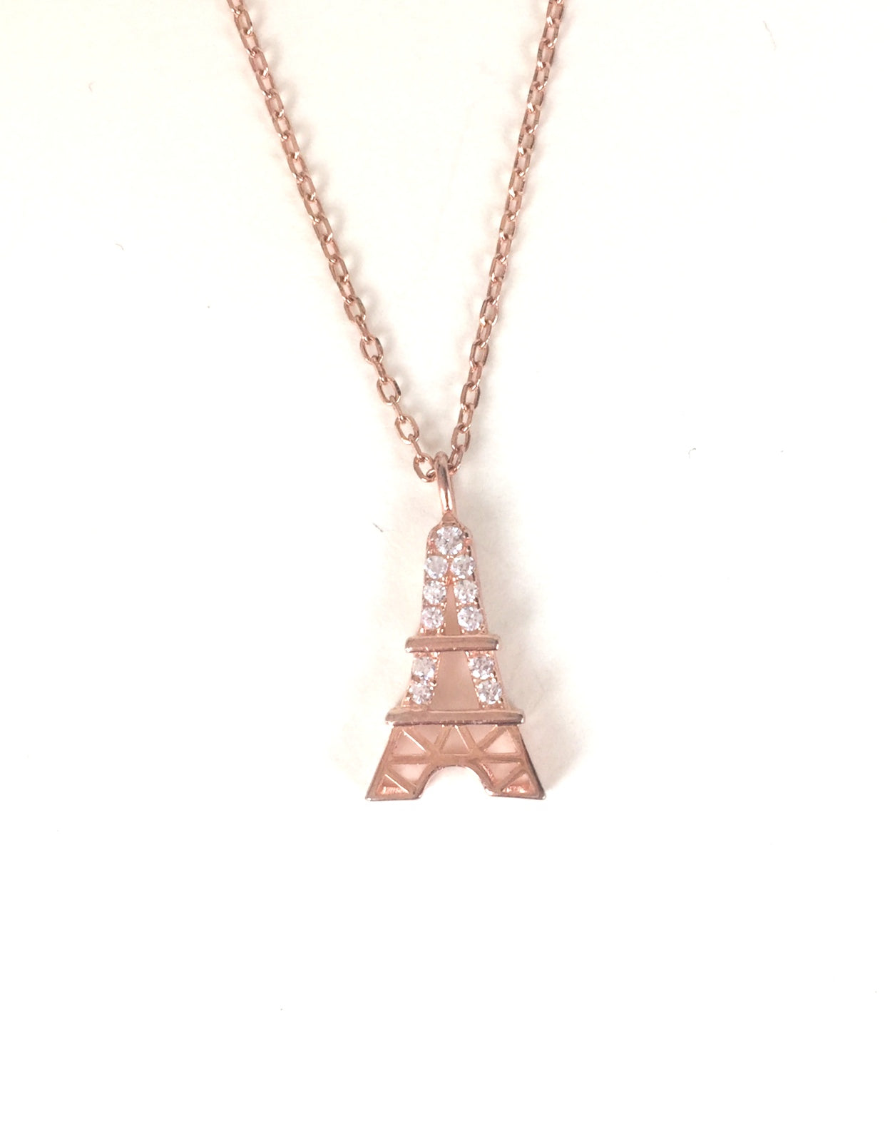 ROSE GOLD EIFFEL TOWER PAVE CZ STERLING SILVER NECKLACE